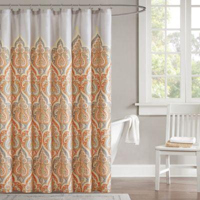 Madison Park Nisha Shower Curtain in Orange
