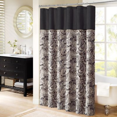 Madison Park Aubrey Jacquard 72-Inch x 72-Inch Shower Curtain Black