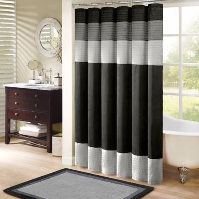 72 Black Fabric Shower Curtain