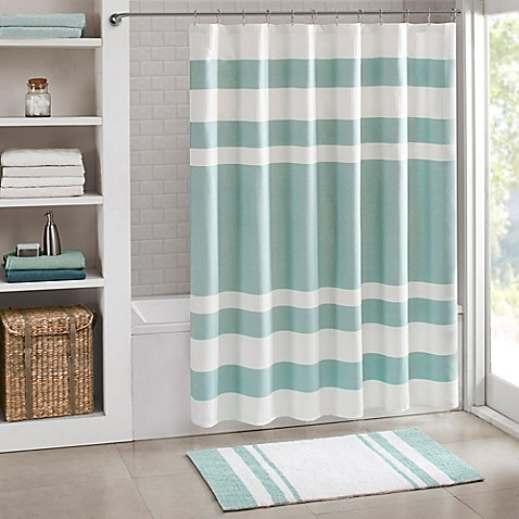 Striped shower curtain Hookless