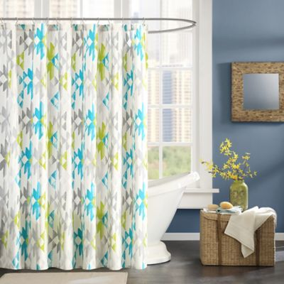 Ink + Ivy Sierra Printed Shower Curtain in Green