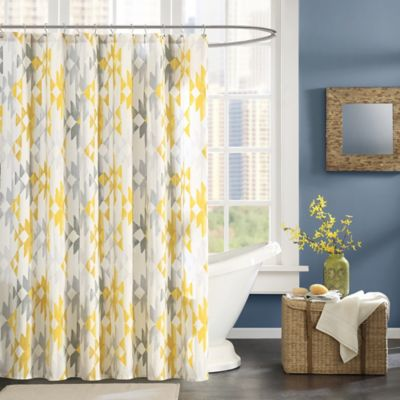 Ink + Ivy Sierra Printed Shower Curtain in Yellow