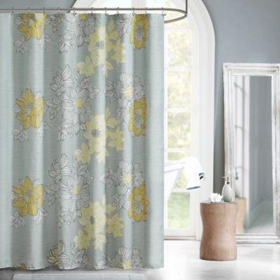 Madison Park Essentials Avalon Shower Curtain in Grey/Yellow