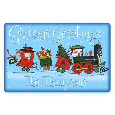 "Weather Guard™ 17.5-Inch x 26.5-Inch ""Seasons Greetings"" Santa's Train Door Mat"