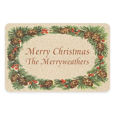 "Weather Guard™ 17.5-Inch x 26.5-Inch ""Merry Christmas"" Pine Border Door Mat"