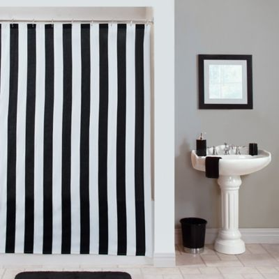 Black and White Striped Fabric Shower Curtain