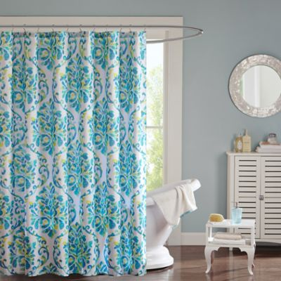 Intelligent Design Ari Shower Curtain in Aqua