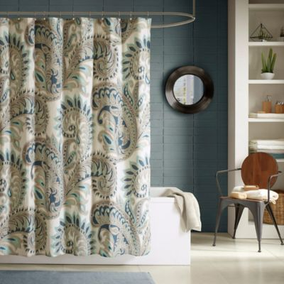 Ink + Ivy Mira Printed Shower Curtain in Blue