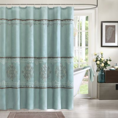 Madison Park Brussel Shower Curtain in Blue