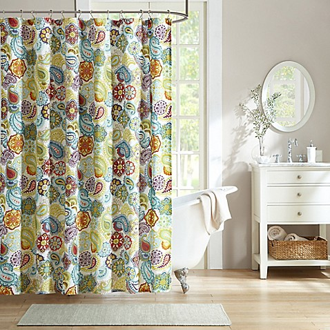 buy mi zone tamil microfiber shower curtain from bed bath amp beyond