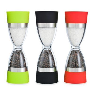 Orii™ Gourmet 2-in-1 Hourglass Salt Shaker and Pepper Grinder in Black