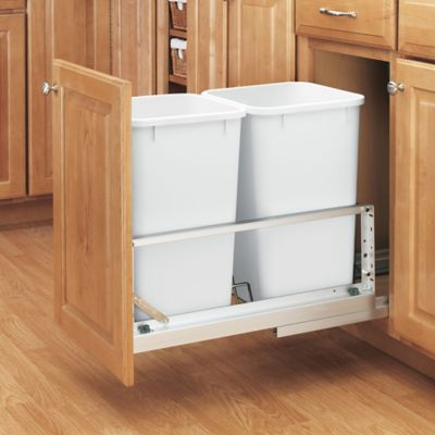 Rev-A-Shelf® Brushed Aluminum Double 27 qt. Pull-Out Waste Containers in White