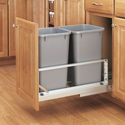 Rev-A-Shelf® Brushed Aluminum Double 27 qt. Pull-Out Waste Containers in Silver