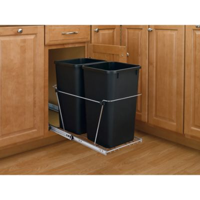Rev-A-Shelf® RV Double 27-Quart Pull-Out Waste Containers in Black