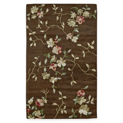 Wool Tufted Floral 4-Foot 6-Inch x 7-Foot 6-Inch Area Rug in Brown