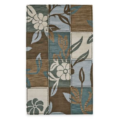 Wool Tufted Floral Tile 4-Foot 6-Inch x 7-Foot 6-Inch Area Rug in Multicolor