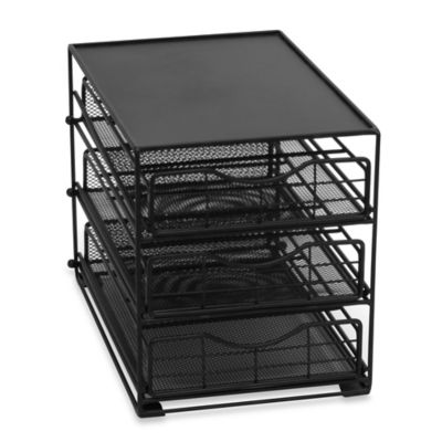 Lipper 3-Tier Mesh Coffee Drawer in Black