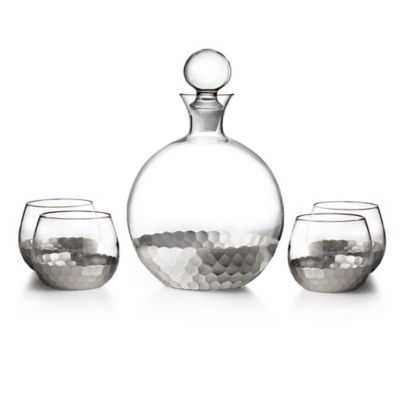Fitz and Floyd® Daphne 5-Piece Large Whiskey Decanter Set in Silver
