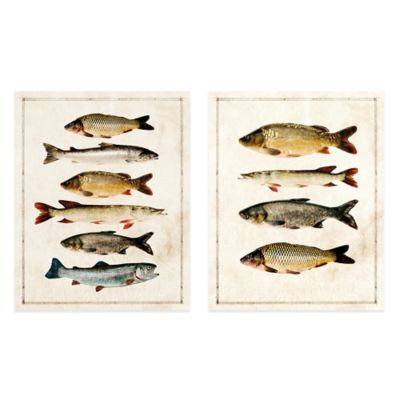 Fish Study Embellished Canvas Wall Art Set of 2