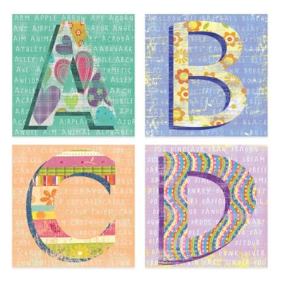 The Letters Embellished Canvas Wall Art (Set of 4)
