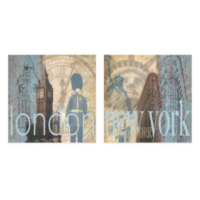 London/New York Flatiron Embellished Canvas Wall Art (Set of 2)