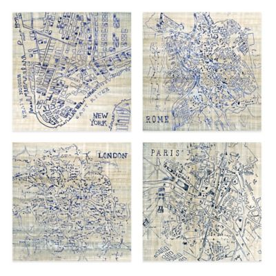 Blue City Embellished Canvas Wall Art (Set of 4)