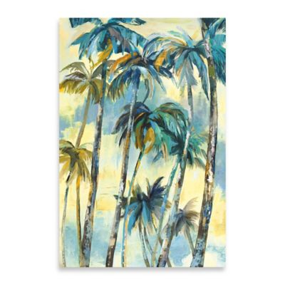 Dancing Palms Embellished Canvas Wall Art