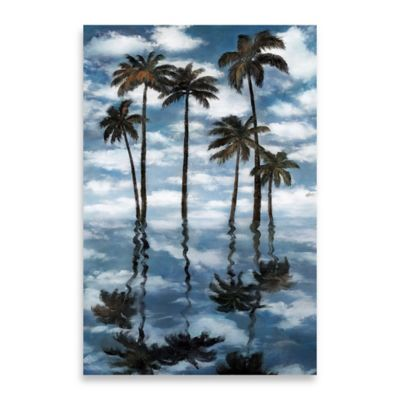 Mirrored Palms Embellished Canvas Wall Art