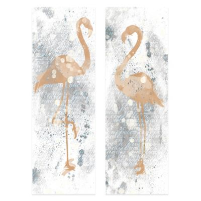Gold and Grey Flamingo Embellished Canvas Wall Art (Set of 2)