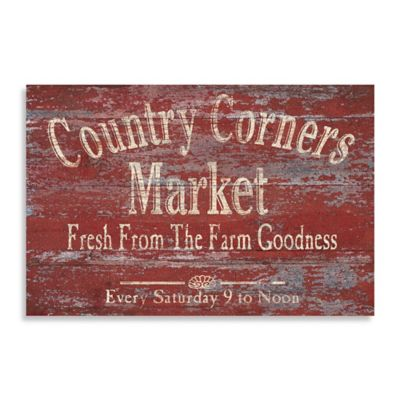 "Vintage ""Country Corners Market"" Canvas Wall Art"