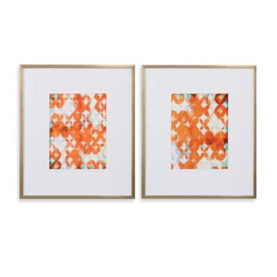 Overlapping Teal and Orange Modern Wall Art