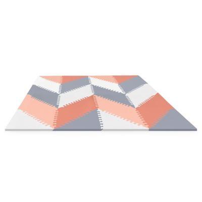 SKIP*HOP® Playspot Chevron Geo Foam Tiles in Peach/Grey