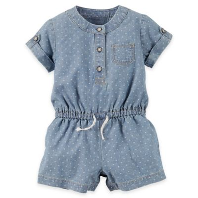 carter's Newborn Dot Chambray Romper in Blue/White