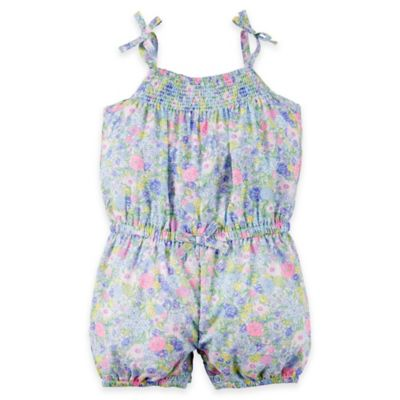 carter's® Size 6M Floral Smock Neck Sleeveless Romper in Blue/Pink