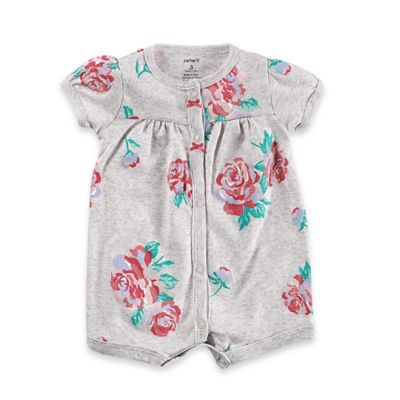 Carter's® Size 9M Snap-Up Floral Romper in Grey/Pink