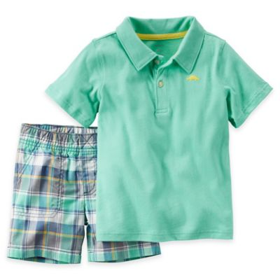 carter's® Size 12M 2-Piece Polo and Short Set in Turquoise