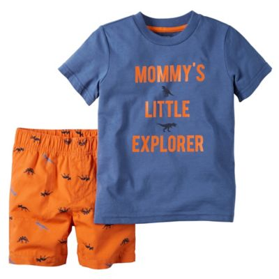 "carter's® Size 12M 2-Piece ""Mommy's Little Explorer"" Shirt and Short Set in Blue/Orange"