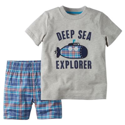"carter's® Size 12M 2-Piece ""Deep Sea Explorer"" Shirt and Short Set in Grey"