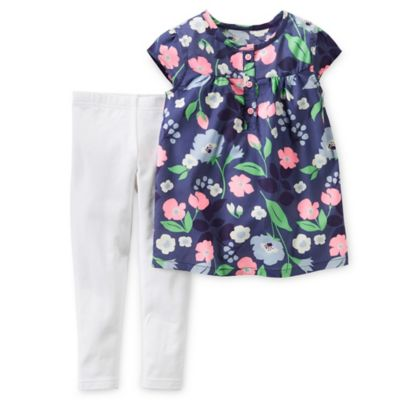 Carter's Newborn 2-Piece Floral Poplin Top and Legging Set in Navy/White