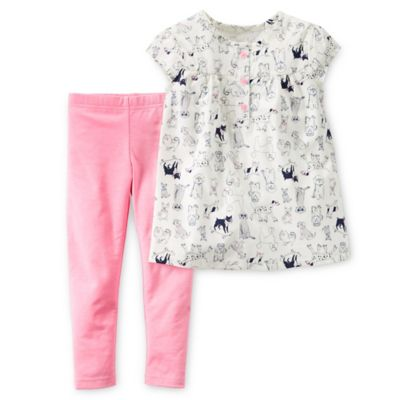Carter's® Newborn 2-Piece Poplin Dog Print Top and Legging Set in White/Pink