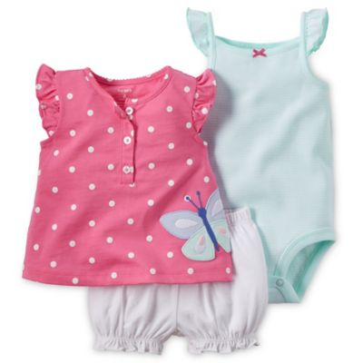 carter's® Newborn 3-Piece Butterfly Dot Top, Diaper Cover and Bodysuit Set in Pink/Aqua/White