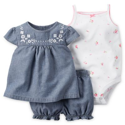 carter's® Size 6M 3-Piece Dress, Diaper Cover, and Bodysuit Set in Chambray/White/Pink