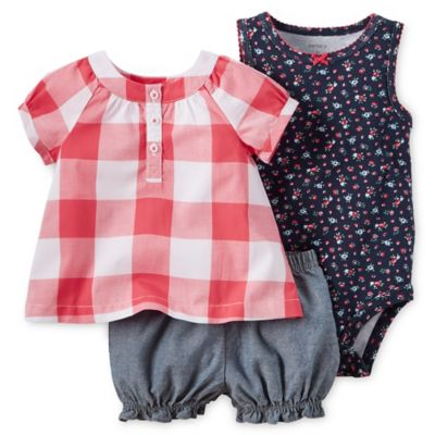 Carter's® Size 9M 3-Piece Checked Top, Sleeveless Bodysuit, and Diaper Cover Set in Red/Blue