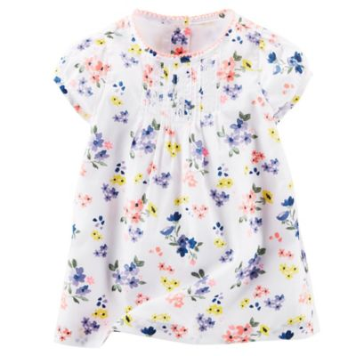 OshKosh B'gosh Size 3M 2-Piece Pin-Tuck Floral Dress and Diaper Cover in White/Purple