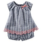 OshKosh B'Gosh® Size 3M 2-Piece Striped Babydoll Set in Blue
