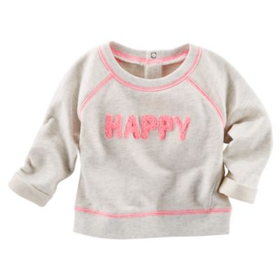 "OshKosh B'gosh® Size 3M ""Happy"" French Terry Pullover in Pink/Grey"