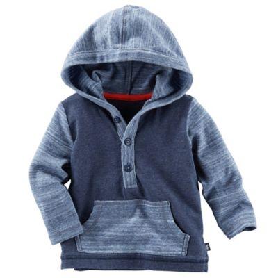 OshKosh B'gosh® Hooded Color Block Henley Pullover in Navy