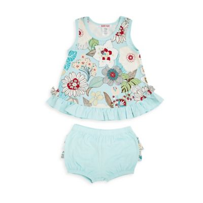 Baby Nay® Size 3M 2-Piece Tahiti Floral Ruffle Tank and Bloomer Set in Aqua