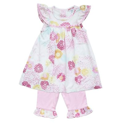 Baby Nay® Size 9M 2-Piece Geisha Daisy Flutter Sleeve Top and Pant Set in Pink