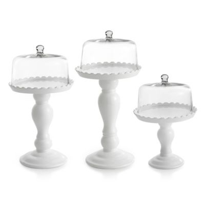 American Atelier Embossed Cake Pedestals with Glass Domes (Set of 3)